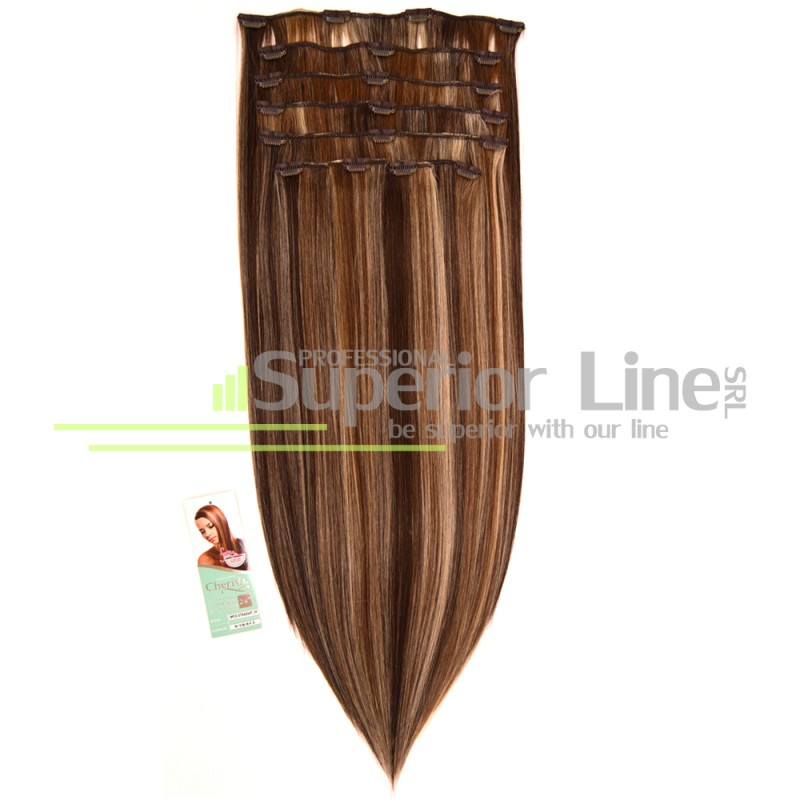 Cherish удължаване на коса Изкуствена Clip In (цвят 6/18/613)