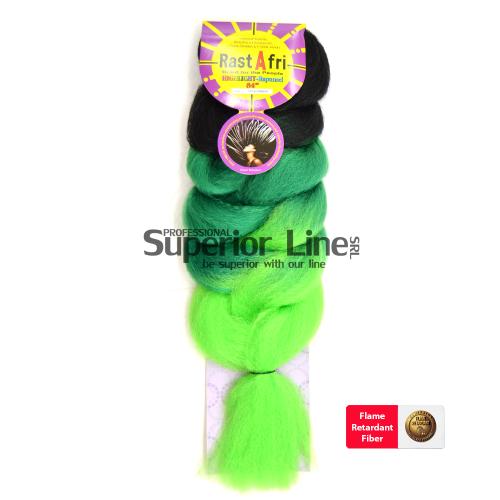 Rastafri HighLight ile-luzapen sintetikoak afrikako txirikordak egiteko (kolore 3T1B/GREEN)