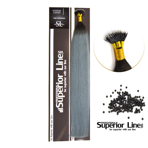 Superior Line Luxura Extensions Human Hair Remy NanoRing (color T1B/LIGHT BLUE)