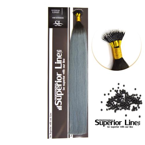 Superior Line Luxura Nano Ring Remy Човешки разширения за коса (цвят T1B/LIGHT BLUE)