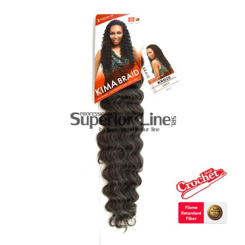 Kima Ripple Deep удължения за коса синтетични къдрици афро плетене на една кука (цвят GREY)
