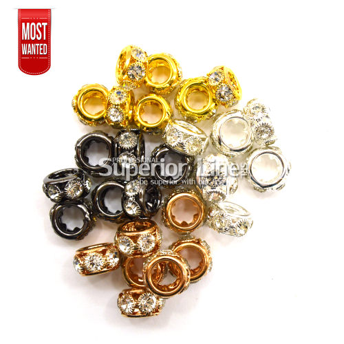 Metal ornament rings with rhinestones for afro tails