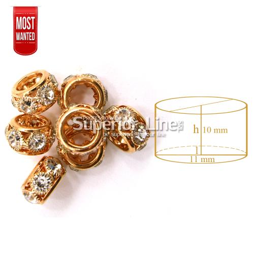 Inele ornamente metalice cu strasuri pentru codite afro