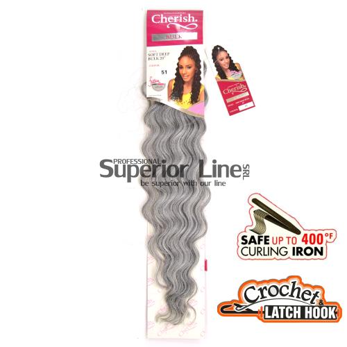 Cherish Bulk Soft Deep удължения за коса синтетични къдрици афро плетене на една кука (цвят GREY)
