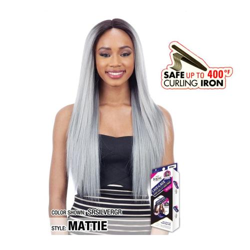 Freetress Equal peruca par sintetic 6″ ureche la ureche dantela frontala Mattie (culoare SRSILVERGR)