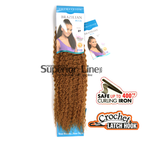 Impression Bulk Brazilian Crochet braids extensions (color 27)