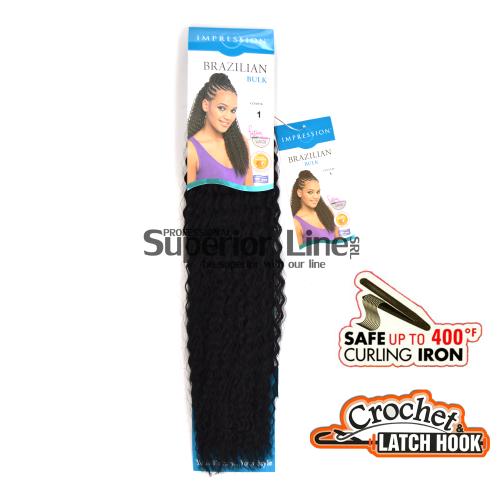 Impression Brazilian удължения за коса синтетични къдрици афро плетене на една кука (цвят 1)