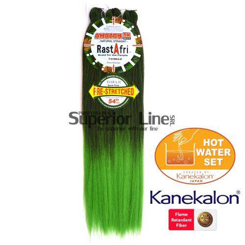 Rastafri Amazon 3X Pre Streched Синтетични коса за африканска плитка (цвят BT1B/TROP.GRE)