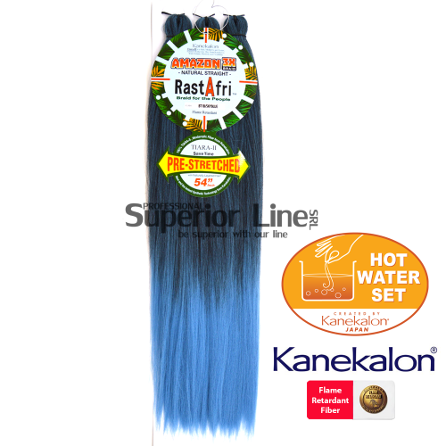 Rastafri Amazon 3X Синтетични коса за африканска плитка (цвят BT1B/SKYBLUE)