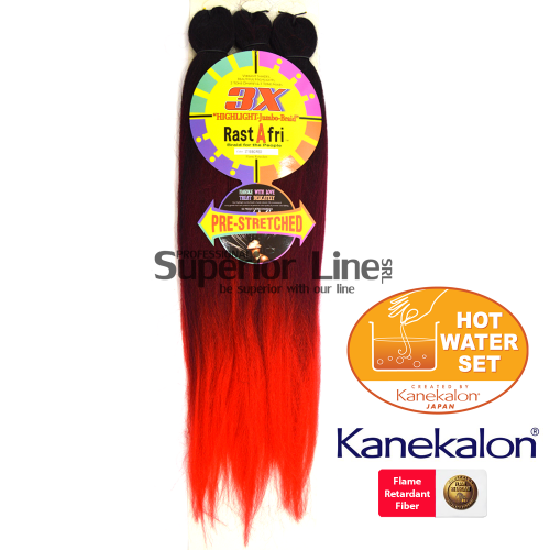 3X Rastafri HighLight Jumbo kanekalon-zöpfe aus kunsthaar (farbe 3T1B/BG/RED)