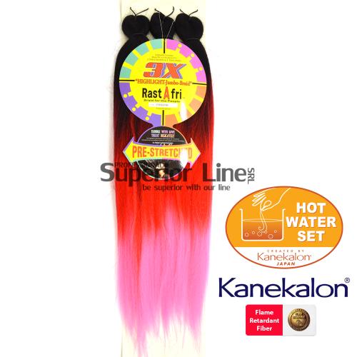 3X Rastafri HighLight Jumbo kanekalon-zöpfe aus kunsthaar (farbe 3T1B/RED/PINK)