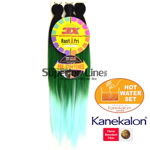 3X Rastafri HighLight Jumbo kanekalon-zöpfe aus kunsthaar (farbe 3T1B/F.GR/C.BL)