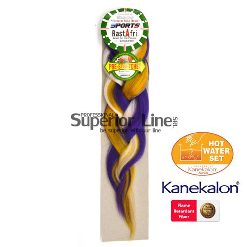 Rastafri AFB Sports Braid Pre Streched szintetikus hajat az afro kötéshez (szín D.PP/GB/WHT)