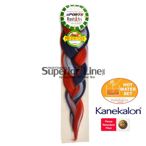Rastafri AFB Sports kanekalon-zöpfe aus kunsthaar (farbe N.BL/SIL/RED)