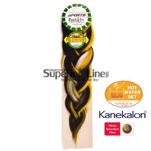 Rastafri AFB Sports Braid Pre Streched szintetikus hajat az afro kötéshez (szín BK/GOLD/WHT)