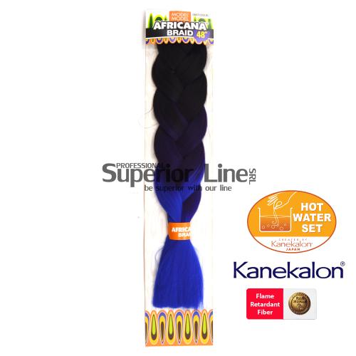 Africana Braid lasje sintetični kanekalon za pletenice afriški (farba OM3TCOOLBL)