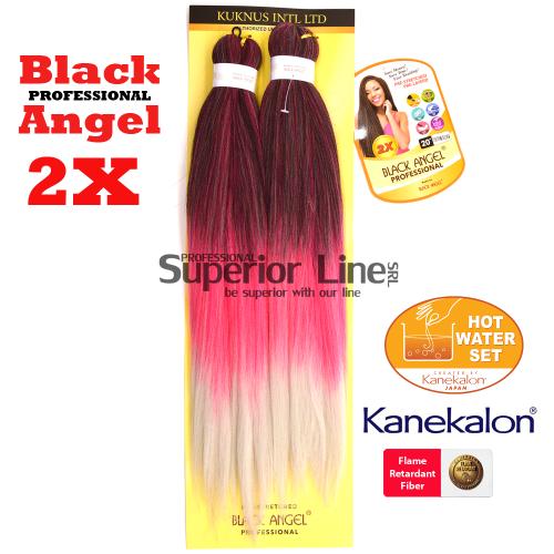 2X Black Angel kanekalon-zöpfe aus kunsthaar (farbe T1B/PINK/SILVER)
