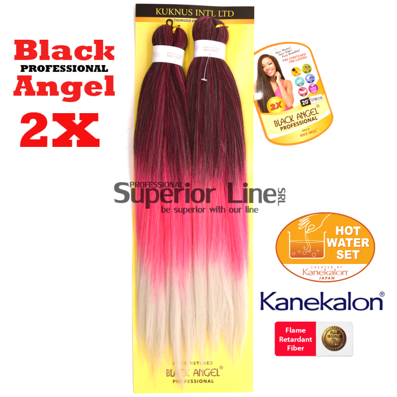 2X Black Angel pre-streched Kanekalon haj (szín )