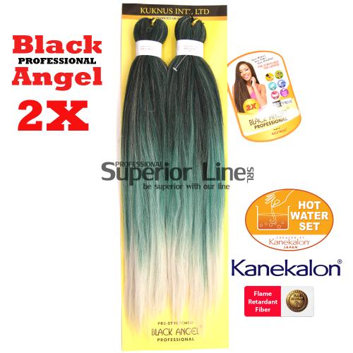 2X Black Angel kanekalon-zöpfe aus kunsthaar (farbe T1B/TURQUOISE/SILVER)