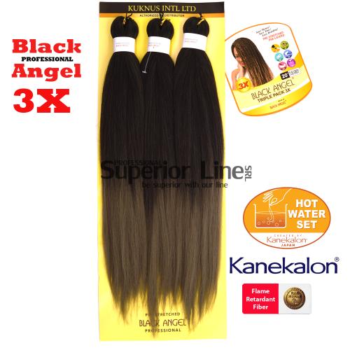 3X Black Angel kanekalon-zöpfe aus kunsthaar (farbe T1BGREY)