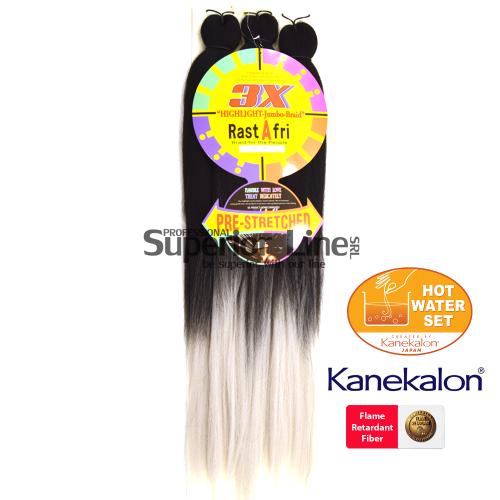 3X Rastafri HighLight Jumbo Kanekalon haj (szín GT1B/SILVER)