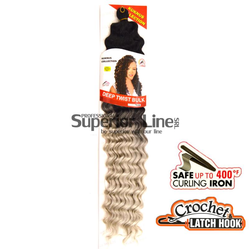 Kuknus Bulk Deep Twist crochet braids (color TTSILVER)