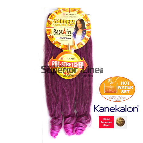 Rastafri Goddess 3X Pre Streched kanekalon haj (szín BT1B/ELECTRICPINK)