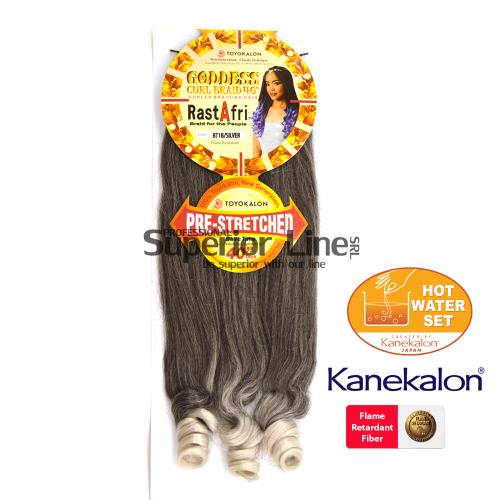 Rastafri Goddess 3X Pre Streched kanekalon haj (szín BT1B/SILVER)