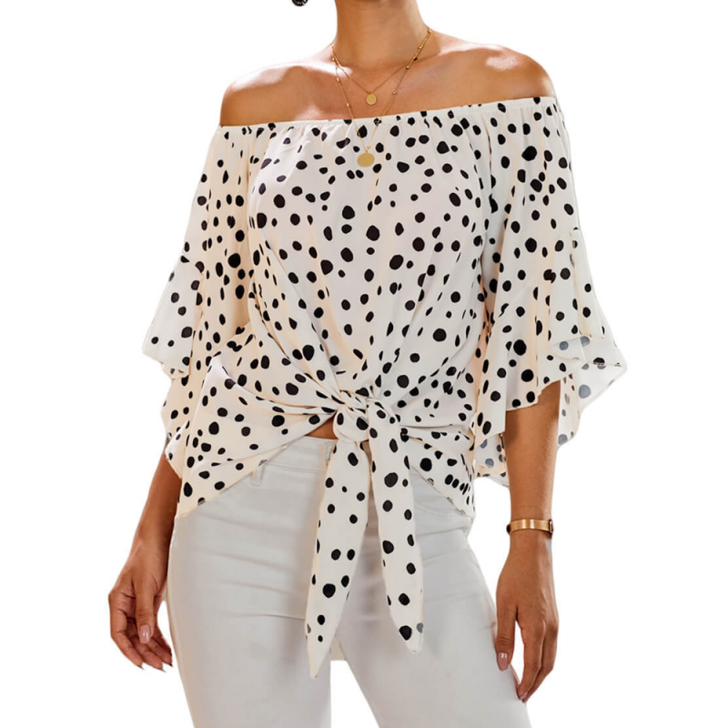 Blouse with a bare shoulder