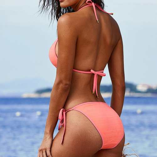 Swimsuit two-piece with triangle bra and brazilian bottom