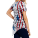 Women asymmetrical t-shirt with USA flag print
