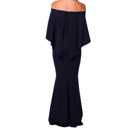 Long evening dress with bare shoulders