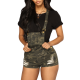Overalls shorts high-waisted lady with Army print