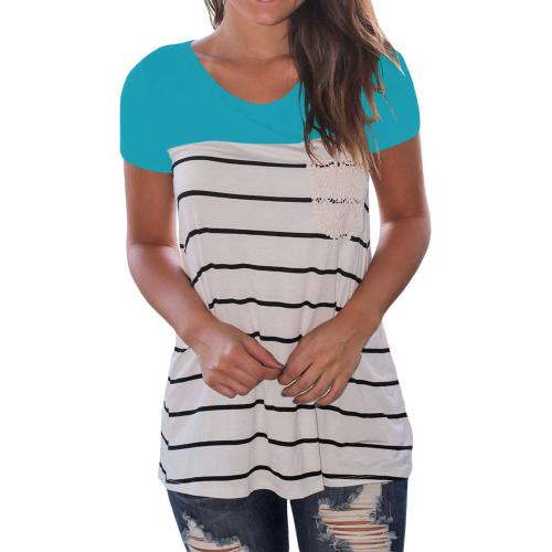 T-shirt women white + blue with black stripes