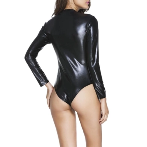 Faux leather body with long sleeves