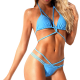 Swimsuit two-piece with triangle bra and tanga panties