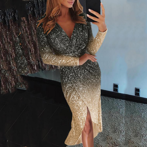 Sexy short dress with shiny sequins