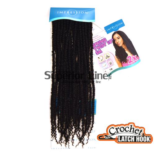Impression SM 2X mèches de cheveux crochet tresses (couleur 1B)