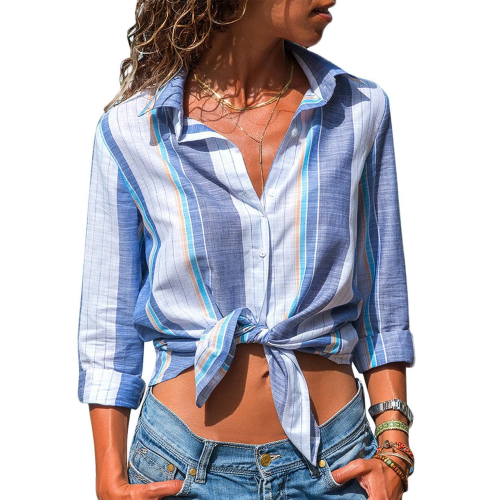 Women long-sleeve shirt with blue stripes