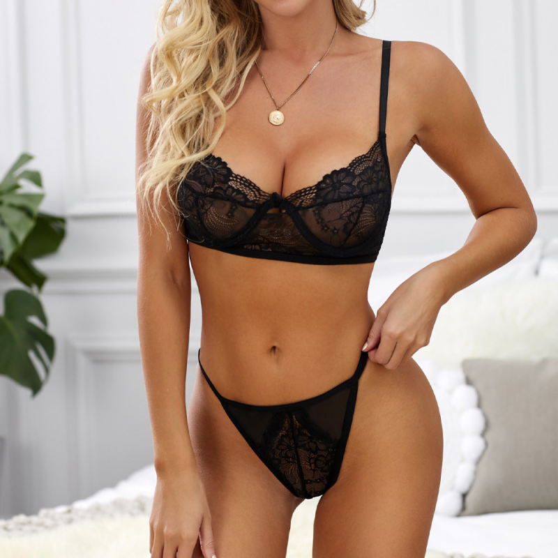 2-piece underwear set with lace