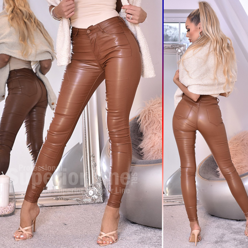 CW Pants women Jordan imitation leather with pocket details