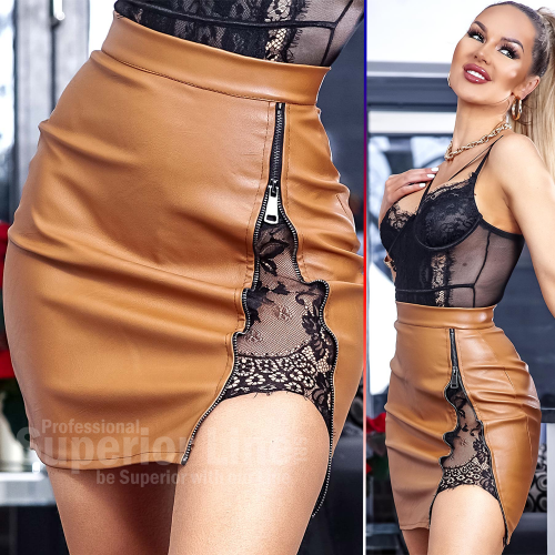 CW Mini skirt imitation leather women Audrey with lace